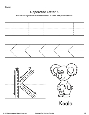 Uppercase Letter K Pre-Writing Practice Worksheet