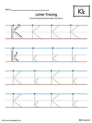 Letter K Tracing Printable Worksheet (Color)