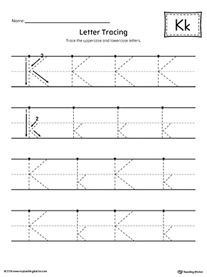 Letter K Tracing Printable Worksheet