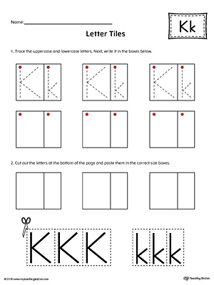 Practice tracing and then writing the uppercase and lowercase letter K with this kindergarten printable worksheet.