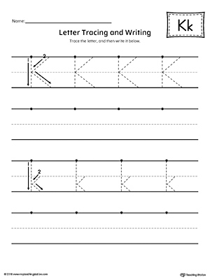 letter k tracing and writing printable worksheet. Black Bedroom Furniture Sets. Home Design Ideas