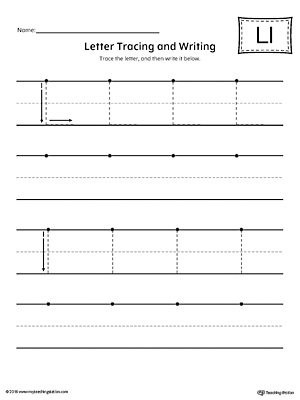 letter l tracing and writing printable worksheet. Black Bedroom Furniture Sets. Home Design Ideas