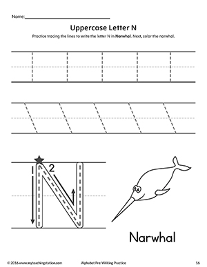Letter N writing and coloring sheet
