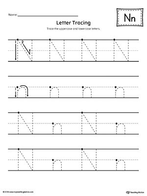 Letter N Tracing Printable Worksheet