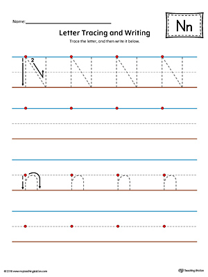 Letter N Tracing and Writing Printable Worksheet (Color)