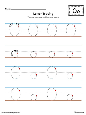 Letter O Tracing Printable Worksheet (Color)