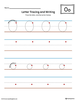 Letter O Tracing and Writing Printable Worksheet (Color)