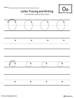 Letter O Tracing and Writing Printable Worksheet