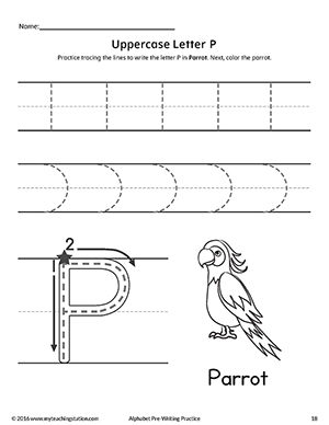 Uppercase Letter P Pre-Writing Practice Worksheet