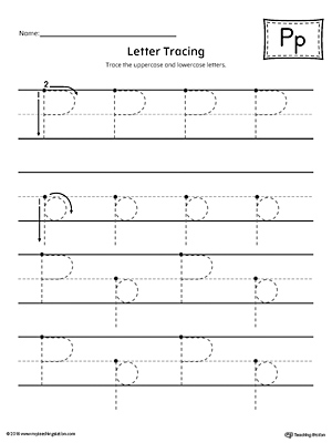 Letter P Tracing Printable Worksheet | MyTeachingStation.com