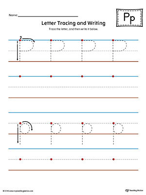 Letter P Tracing and Writing Printable Worksheet (Color)