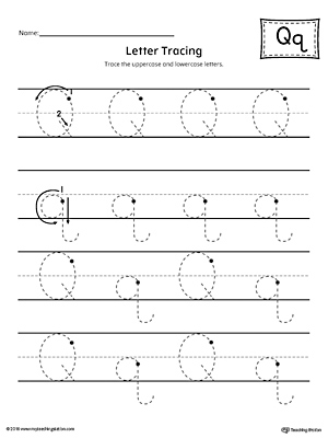 letter q tracing printable worksheet. Black Bedroom Furniture Sets. Home Design Ideas
