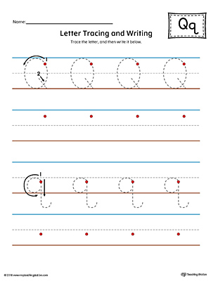 letter q tracing and writing printable worksheet color. Black Bedroom Furniture Sets. Home Design Ideas