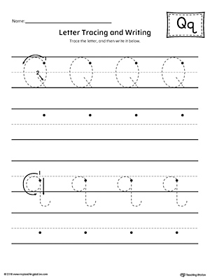 Letter Q Tracing and Writing Printable Worksheet