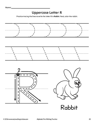 Uppercase Letter R Pre-Writing Practice Worksheet