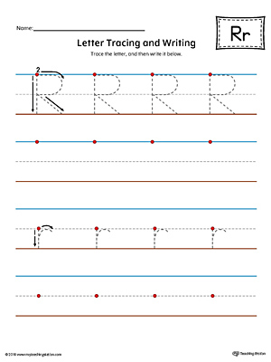 Letter R Tracing and Writing Printable Worksheet (Color)