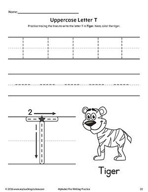 Uppercase Letter T Pre-Writing Practice Worksheet