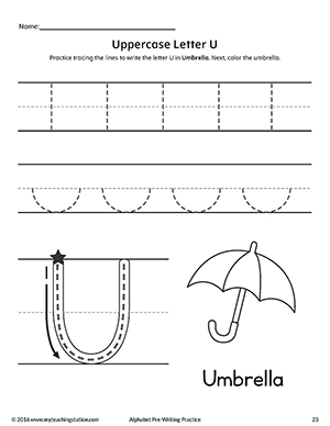 Uppercase Letter U Pre-Writing Practice Worksheet