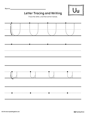 Letter U Tracing And Writing Printable Worksheet Myteachingstation Com