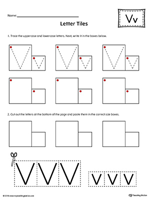 Letter V Tracing and Writing Letter Tiles