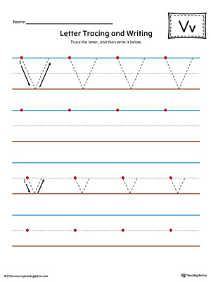 Letter V Tracing and Writing Printable Worksheet (Color)