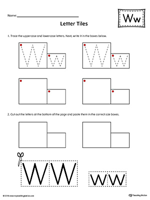 Letter W Tracing and Writing Letter Tiles
