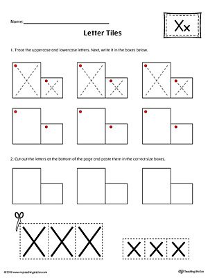Letter X Tracing and Writing Letter Tiles
