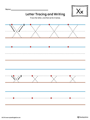 Letter X Tracing and Writing Printable Worksheet (Color)