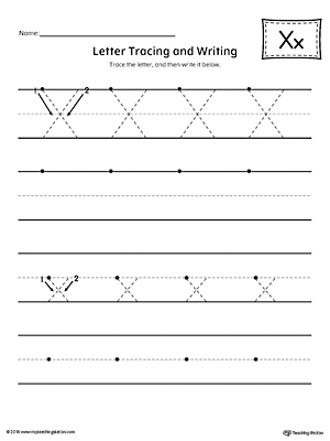 Letter X Tracing and Writing Printable Worksheet