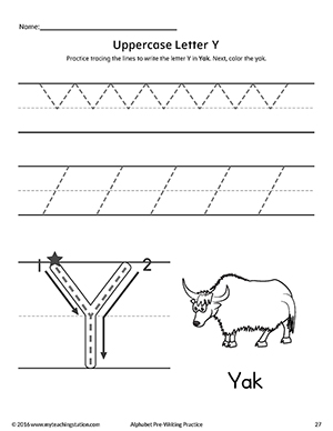 Uppercase Letter Y Pre-Writing Practice Worksheet ...