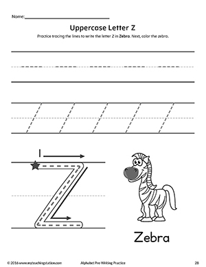 Uppercase Letter Z Pre Writing Practice Worksheet