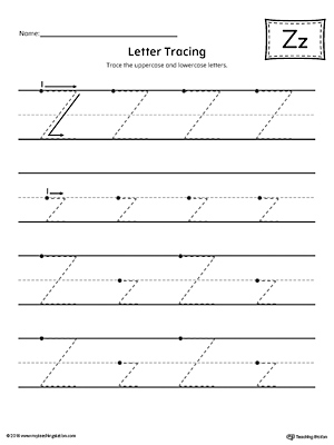 Give your child plenty of writing practice with the Letter Z Tracing printable worksheet.