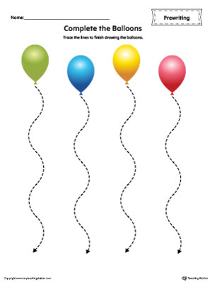 Balloon Curved Line Tracing Prewriting Worksheet in Color