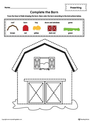 Barn Line Tracing Prewriting Worksheet in Color