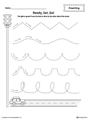 Car Racing Line Tracing Prewriting Worksheet