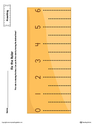 Ruler Line Tracing Prewriting Worksheet in Color