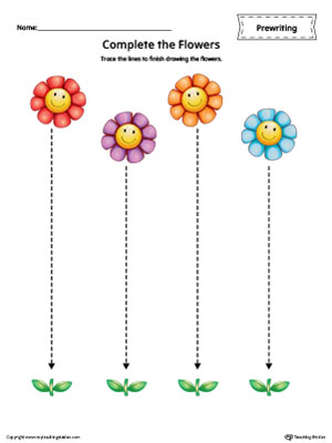 Straight Line Tracing Prewriting Flower Worksheet In Color