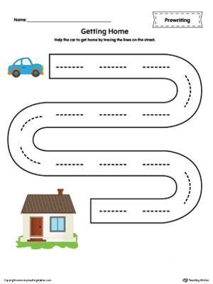 Street Line Tracing Prewriting Worksheet in Color