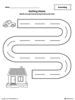 Street Line Tracing Prewriting Worksheet ...