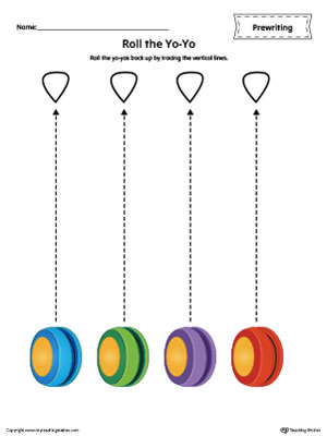 YoYo Line Tracing Prewriting Worksheet in Color