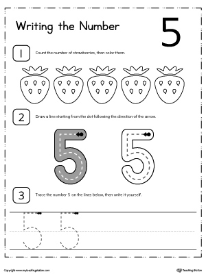 Kindergarten writing numbers printable worksheets learn to count and write number 5 ibookread Download