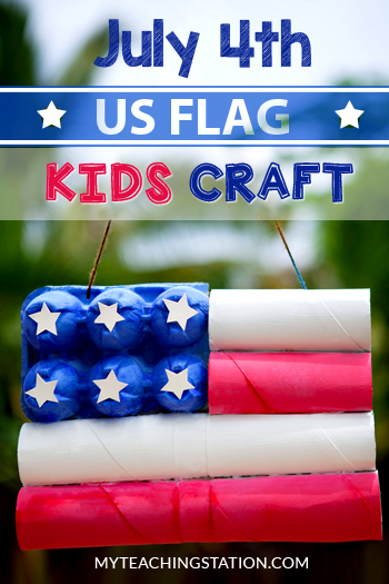 4th of July American Flag Kids Craft.