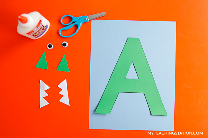 Letter A Craft Materials for Making an Alligator