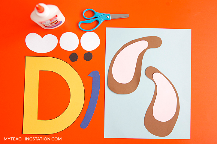 Letter D Craft Materials for Making an Dog