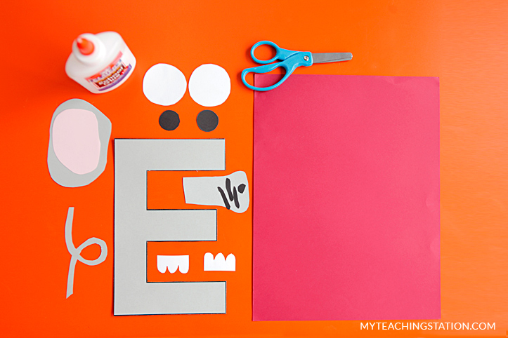 Letter E Craft Materials for Making an Elephant