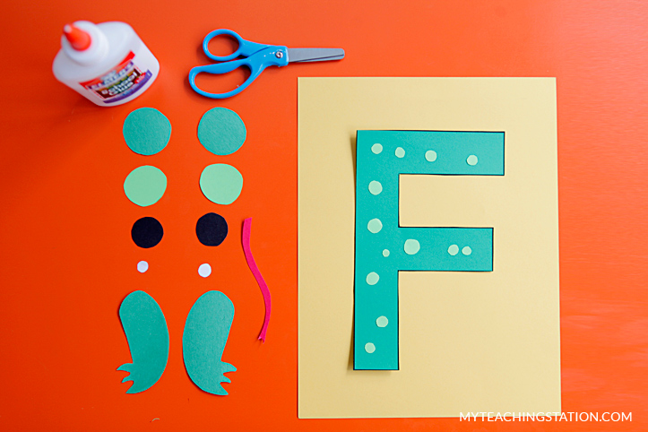 Letter F Craft Materials For Making An Frog