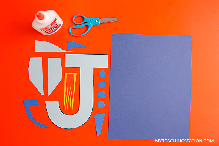 Letter J Craft Materials for Making an Jet