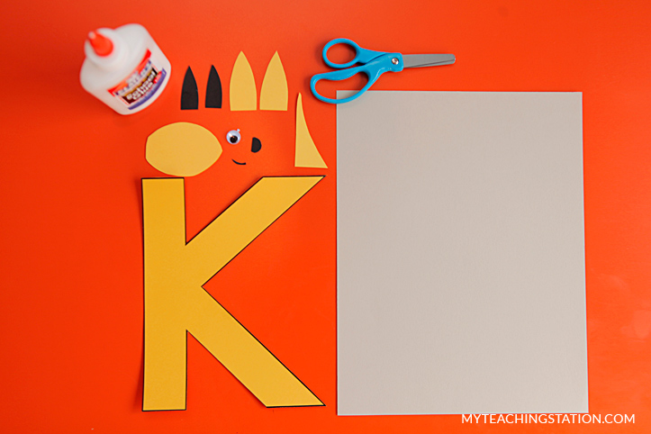 Letter K Craft Materials for Making an Kangaroo