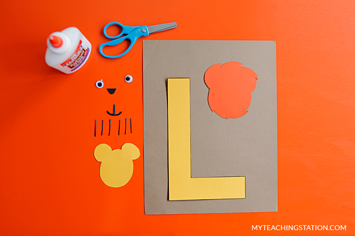 Letter L Craft Materials for Making an Lion