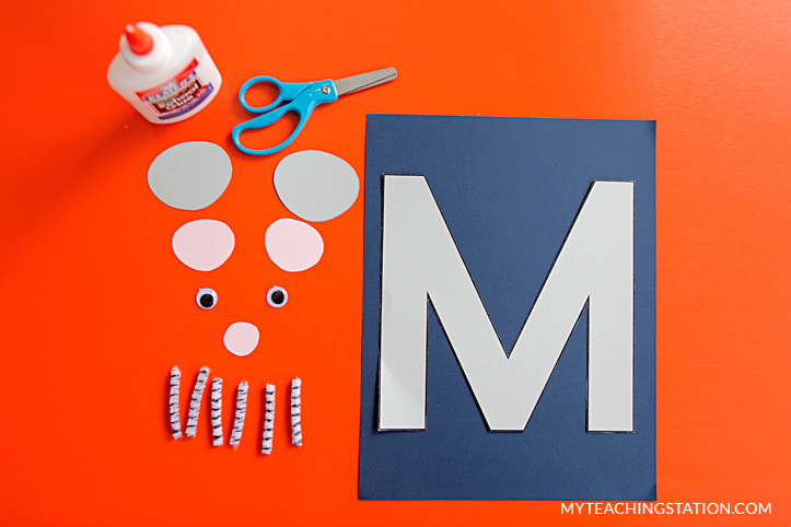 Letter M Craft Materials for Making an Mouse